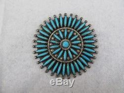 Vintage F. M Begay Navajo Sterling Silver Needlepoint Turquoise pin/ Pendant
