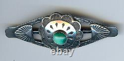 Vintage Fred Harvey Era 1940's Navajo Indian Silver & Turquoise Pin Brooch