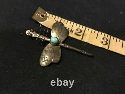 Vintage Fred Harvey Era Navajo Turquoise Dragonfly Sterling Silver Pin