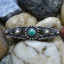 Vintage Fred Harvey Era Stamp Decorated Sterling Turquoise Satellite Pin Brooch