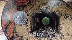 Vintage Fred Harvey Era Sterling Silver Turquoise Thunderbird Pin