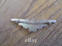 Vintage Fred Harvey Era Thunderbird Turquoise Sterling Pin Brooch Old Pawn