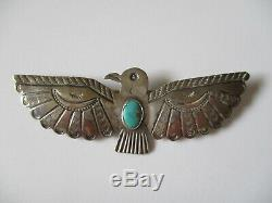 Vintage Fred Harvey era Thunderbird Hand Stamped Sterling Turquoise Brooch Pin