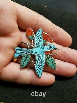 Vintage H. M. Coonsis Zuni Sterling Silver Turqoise & Coral Bird Pin Brooche Zuni
