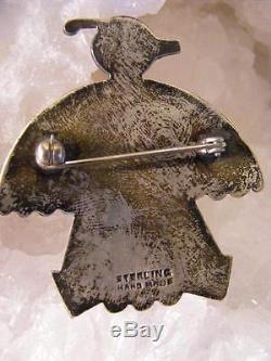 Vintage HOPI NATIVE Indian Handmade THUNDERBIRD Sterling Silver PIN BROOCH