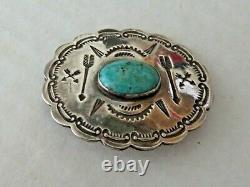 Vintage Harvey Era Sterling Silver Turquoise Hand Stamped Brooch Pin