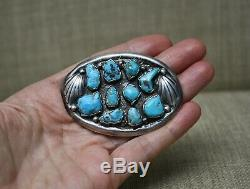 Vintage Heavy Native American Navajo Turquoise Sterling Silver Pin Brooch 45gr