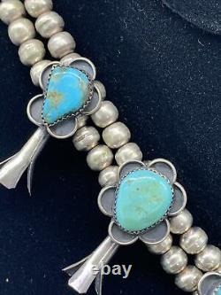 Vintage Heavy Silver Squash Blossom Navajo Bisbee Turquoise