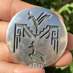Vintage Hopi Crafts Sekaquaptewa Shop Sterling Silver Overlay Deer Pin Pendant