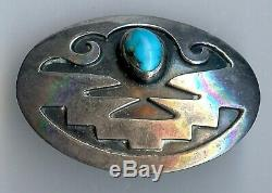 Vintage Hopi Indian Silver Turquoise Pin Or Pendant