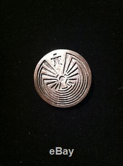 Vintage Hopi Overlay Silver Man In The Maze Pin Pendent Artist Stamp 1970-80