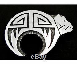Vintage Hopi Silver Fetish Bear Pin/Pendant Leroy Honyaktewa