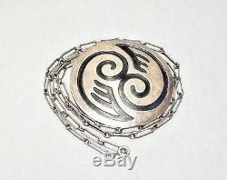 Vintage Hopi Sterling Silver Overlay Handmade Pin Pendant Brooch Necklace