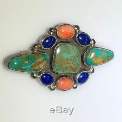 Vintage J. B. Platero Navajo Silver Brooch with Turquoise Lapis & Spiny-Oyster