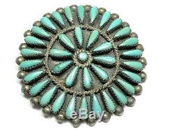 Vintage Ladies Sterling Silver Turquoise Stone Pin/Brooch/Pendant ZUNI