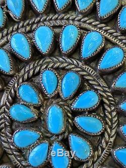 Vintage Large Native American Petite Point Turquoise Pin/Pendant signed
