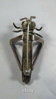Vintage NAVAJO GRASSHOPPER Brooch Pin Stamped Sterling Silver turquoise eyes