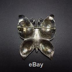 Vintage NAVAJO Hand Stamped Sterling Silver BUTTERFLY PIN/BROOCH