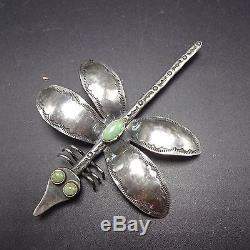 Vintage NAVAJO Hand-Stamped Sterling Silver & TURQUOISE DRAGONFLY Pin BROOCH