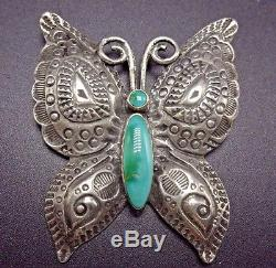 Vintage NAVAJO Hand Stamped Sterling Silver & Turquoise BUTTERFLY PIN/BROOCH