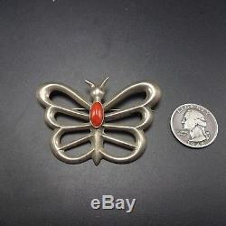 Vintage NAVAJO Sand Cast Sterling Silver & CORAL Butterfly PIN/BROOCH