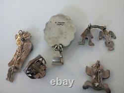 Vintage NAVAJO Sterling Ring Pins Pendants Turquoise Coral Kokopelli Lot