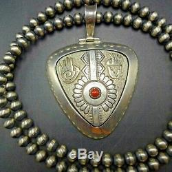 Vintage NAVAJO Sterling Silver 14K Gold CORAL PENDANT + 24 Strand NAVAJO PEARLS