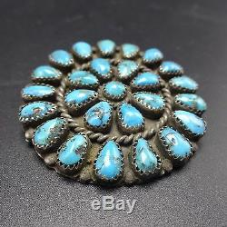 Vintage NAVAJO Sterling Silver & Blue MORENCI Turquoise Cluster PIN/PENDANT