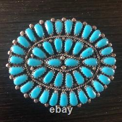 Vintage NAVAJO Sterling Silver TURQUOISE Cluster Petit Point PIN/BROOCH PENDANT