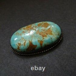 Vintage NAVAJO Sterling Silver TURQUOISE PIN/BROOCH Beautiful Oval Cabochon