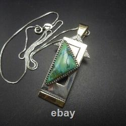 Vintage NAVAJO Sterling Silver with 14K GOLD and TURQUOISE PENDANT with Chain
