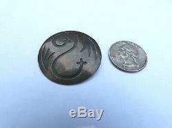 Vintage Native American Hopi Victor Coochwytewa Sterling Silver Overlay Pin