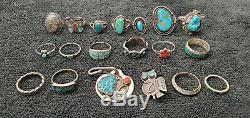 Vintage Native American Jewelry Zuni Inlay Silver Turquoise Ring Tag Pin Lot