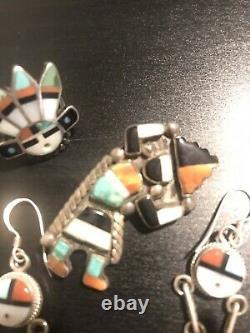 Vintage Native American Jewelry Zuni Inlay Sun Face Earrings, Pin, & Ring Lot
