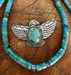 Vintage Native American Navajo Sterling Eagle Turquoise Pin Pendant Cleveland AC