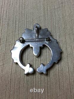 Vintage Native American Navajo Sterling Silver Onyx Naja Pin Brooch Pendant