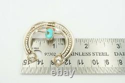 Vintage Native American Navajo Sterling Silver Turquoise Naja Pin Brooch Pendant