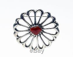 Vintage Native American Navajo Sterling Silver and Coral Sandcast Flower Pin