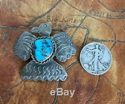 Vintage Native American Navajo Sterling Thunderbird Eagle Turquoise Pin AJC
