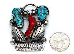 Vintage Native American Pin Zuni Dan Simplicio Turquoise Coral Sterling Silver