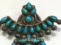 Vintage Native American Silver And Turquoise Kachina Knife Wing Dancer Pin