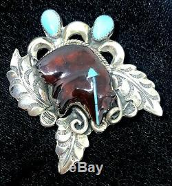 Vintage Native American Sterling Silver Amber & Turquoise Fetish Bear Pin Brooch