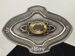 Vintage Native American Sterling Silver Citrine Concho Style Pin Signed Numbered