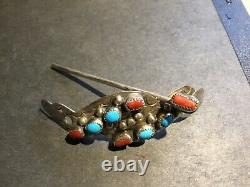Vintage Native American Sterling Silver & Turquoise Hair Pin Set