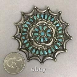 Vintage Native American Sterling Silver Turquoise Petit Point Brooch Pin