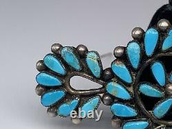 Vintage Native American Sterling & Turquoise Fine Needlepoint Brooch
