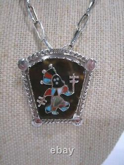 Vintage Native American Zuni Pin Pendant Apache Dancer on Faux Tortoise Shell