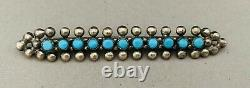 Vintage Native American Zuni Snake Eye Turquoise Sterling Silver Row Bar Pin 925