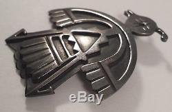 Vintage Native Indian Handmade Thunderbird Sterling Silver Pin Brooch