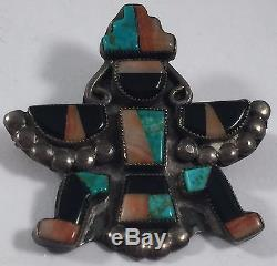Vintage Native Indian Knifewing Man Sterling Silver Turquoise Coral Pin Brooch